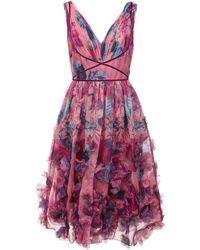 Marchesa notte 3d Floral Embroidered Cocktail Dress - Roze