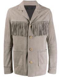 Amiri Fringed Suede Jacket - Grey