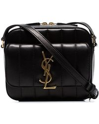 5200897b401c Saint Laurent - Black Vicky Quilted-leather Camera Bag - Lyst