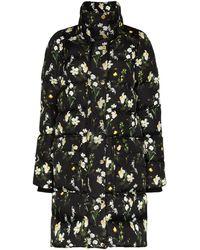 Erdem Daura Floral Print Padded Coat - Black