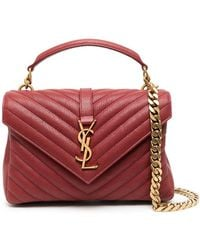 Saint Laurent Medium College Top-handle Bag - Red