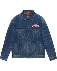Gucci Patch Detail Oversized Denim Jacket - Blue