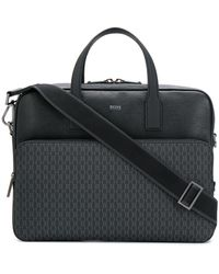 BOSS Textured Leather Laptop Bag - Black