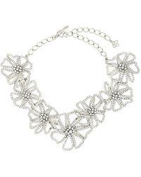 Oscar de la Renta Flower-chain Crystal Necklace - Multicolour