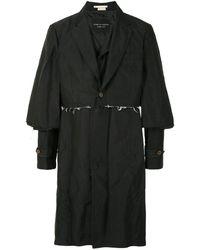 Comme des Garçons Пальто С Необработанными Краями - Черный
