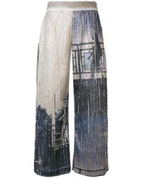 Aviu - Metallic Print Culottes - Lyst