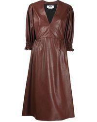 MSGM Платье С V-образным Вырезом - Коричневый