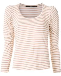 EVA Striped Ruched Sleeve Blouse - Multicolour