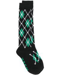 MSGM - Plaid Embroidered Socks - Lyst