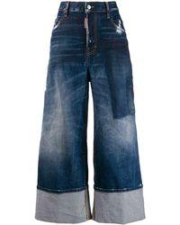 DSquared² Wide Leg Panelled Jeans - Blue