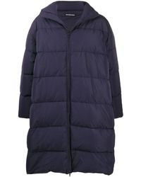 Balenciaga Logo Patch Quilted Puffer Coat - Blue