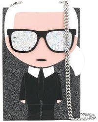 Karl Lagerfeld K/ikonik Karl Minaudiere Clutch - Black