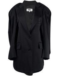 MM6 by Maison Martin Margiela ケープスタイル シングルジャケット - ブラック