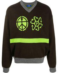 Rassvet ロゴ インターシャセーター - ブラウン