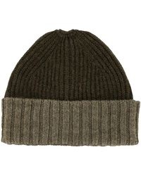 Margaret Howell Two-tone Ribbed Beanie - Green