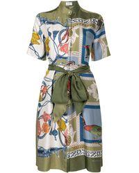 Ferragamo スカーフ プリント ドレス - グリーン