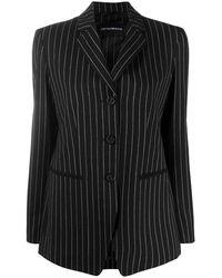 Emporio Armani Striped Single Breasted Blazer - Black