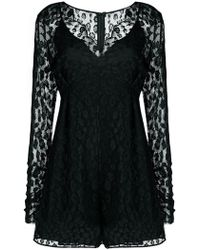 Pinko - Lace V-neck Playsuit - Lyst