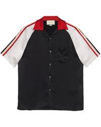 Gucci Bowling-Shirt mit Streifen - Schwarz