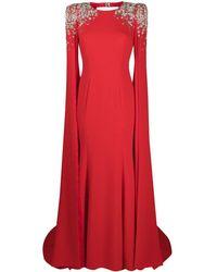 Jenny Packham Robe longue à ornements - Rouge