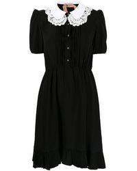 N°21 コントラストカラーミニドレス - ブラック