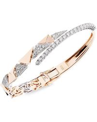 YEPREM - 18kt Rose Gold Diamond Curved Cuff - Lyst