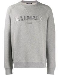 Balmain Embroidered Logo Sweatshirt - Grey