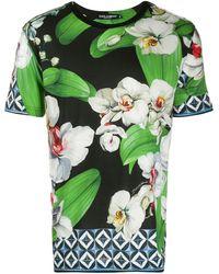 Dolce & Gabbana T-Shirt mit Blumen-Print - Schwarz