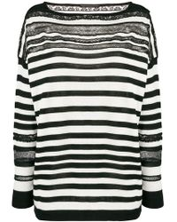 Ermanno Scervino - Striped Sheer Detail Sweater - Lyst