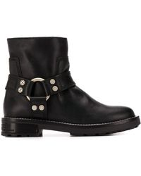 DIESEL ハーネスリング ロゴ ブーツ - ブラック