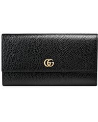 Gucci Leather Continental Wallet - Black