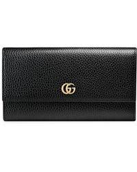 Gucci Leren Continentale Portemonnee - Zwart