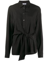 P.A.R.O.S.H. ポインテッドカラー ウエストタイシャツ - ブラック
