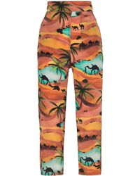 Chufy Oasis Print Cropped Pants - Orange