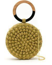 Serpui Circle Popcorn Crochet Straw Clutch - Multicolour
