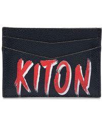 Kiton カードケース - ブルー
