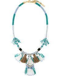 Rada' Tassel Fringed Necklace - Blue