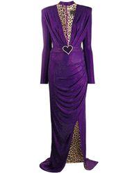 Philipp Plein Платье С Глубоким Вырезом - Пурпурный