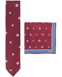 Brioni Completo due pezzi con stampa geometrica - Rosso