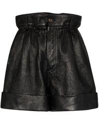 Miu Miu High-waisted paperbag shorts - Noir
