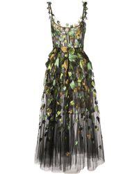 Oscar de la Renta Ballet-styled Dress With Leaf Embroidery - Black
