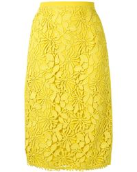 N°21 Floral-crochet Pencil Skirt - Yellow