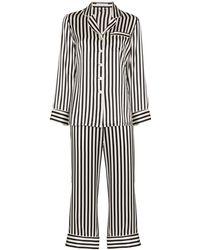 Olivia Von Halle Lila Gestreifter Pyjama Aus Seidensatin - Schwarz