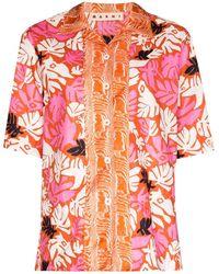 Marni Рубашка С Цветочным Принтом - Оранжевый