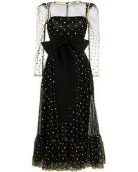 RED Valentino メッシュディテール ドレス - ブラック