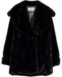 we11done Faux Fur Oversized Coat - Black
