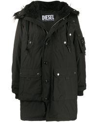 DIESEL ジップアップ フーデッドコート - ブラック