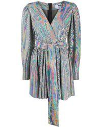 MSGM Декорированное Платье С Запахом - Металлик