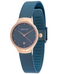 Bering Наручные Часы С Фактурным Ремешком - Синий