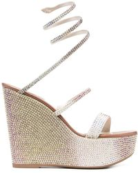 Rene Caovilla Crystal Embellished Wedge Sandals - Metallic